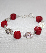 Coral Flower Filigree Bracelet
