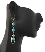Turquoise Oval Drop Earring